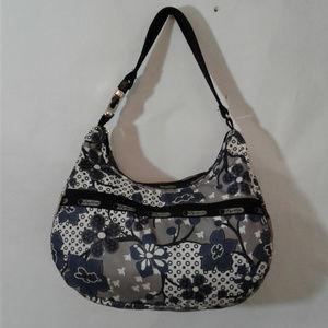 LeSportsac Blue White Floral Hobo Handbag Tote